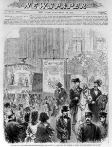 New York City eight-hour demonstration in September 1871. From Frank Leslie's Illustrated Newspaper, 9/30/1871 (source)