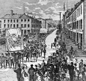 Hamilton's 1,500-strong nine-hour procession. May 15 1872 (Canadian Illustrated News, courtesy Library and Archives Canada/C-58640).