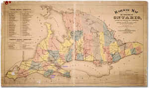 Map of Ontario railways, 1875 (Archives of Ontario, Reference Code: A-6, Accession 9367)