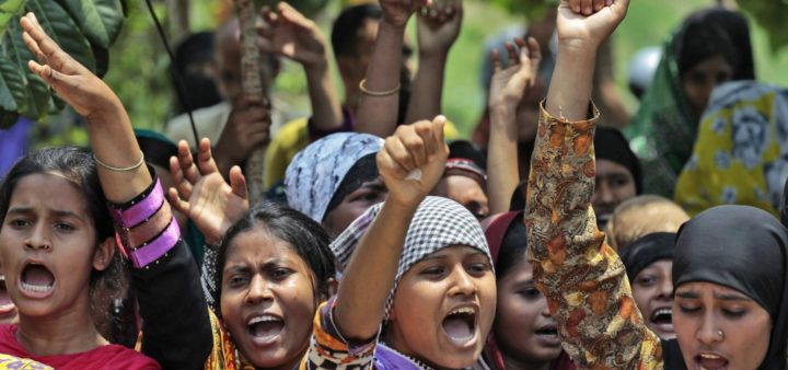 Bangladeshi textile workers in June 2015 protesting deadly working conditions and union-busting by the garment industry.