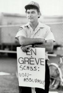 A Montreal letter carrier on strike. June 1987. Photo: Tony Bock, Toronto Star