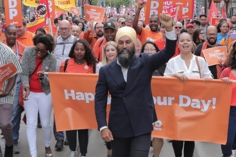 Jagmeet Singh leading a march