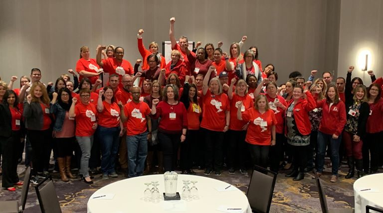 OSSTF members wearing #RedforEd shirts